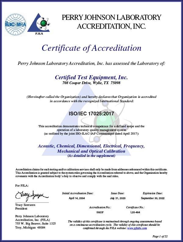 Certified Test Equipment Inc. New-cert-2020
